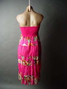 PINK Floral Tiered Halter OR Strapless Dress OR Skirt M
