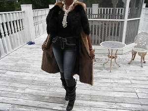 Unique Long brown Mink fur + fox Vest coat jacket S M