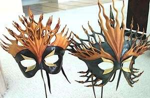 2X Handmade Leather Mardi Gras Venetian Mask (1980s)