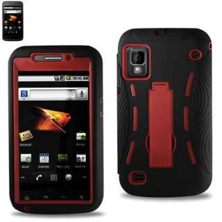 Boost Mobile ZTE WARP N860 Heavyduty Hybrid Impact RED Stand Case Dual