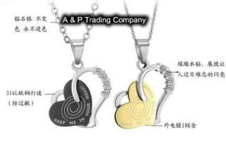 JN09 Stainless Steel Charm Love Heart Couple Necklace