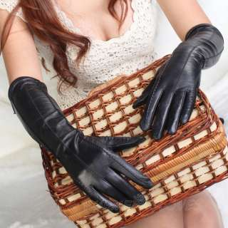 NEW Womens long GENUINE LEATHER opera gloves black 3 lines