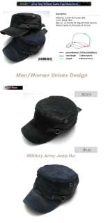 Brand New Unisex Army Jeep Military Cap Hat ST Black/Navy
