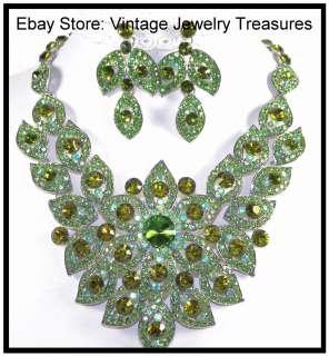 Glam Rhinestone Bib Necklace & Earrings Olivine Green Aqua Blue