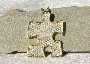 Autism Awareness Swarovski & Gold Puzzle Piece Necklace WOW