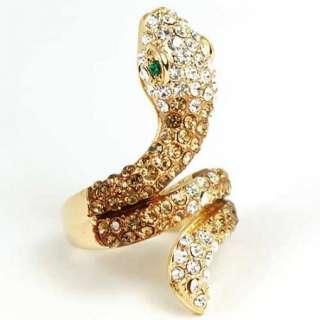 GP Yellow swarovski crystal Snake cocktail ring j398