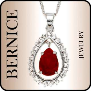 CHRISTMAS GIFT JEWELRY PEAR CUT RED RUBY WHITE GOLD GP PENDANT FREE