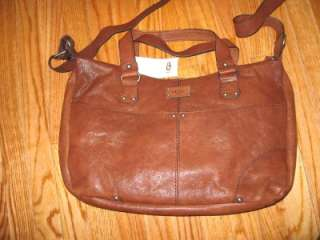 UGG® Australia Large Leather Satchel bag,Chestnut