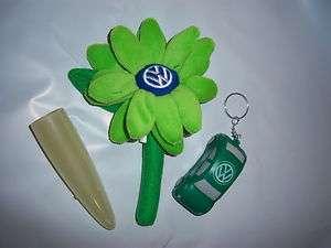 VW Beetle LOGO Green Daisy Flower, Key & Yellow Vase
