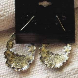 Earrings Xmas Gift Vintage Gold Tone Enamel Embossed Flower