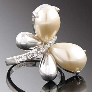 GOLD GP Swarovski crystal ring pearl butterfly 1187