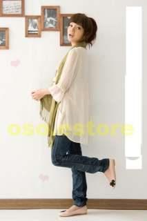 Two Colors  Korean Girls Cute Chiffon V neck Loose 3/4 Sleeve Casual