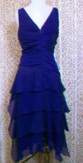 TADASHI SHOJI Womens Gorgeous Blue Pleated Flattering Sleeveless Dress