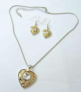 Gold tone Rhinestone Heart Necklace & Earring Set