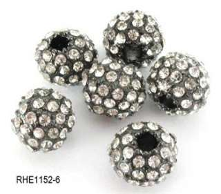 10 20pc 10mm DIY CZ Pave Disco Ball Crystal Rhinestone Spacer Beads