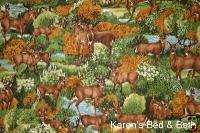 Wildlife Deer Forest Stream Brown Curtain Valance NEW