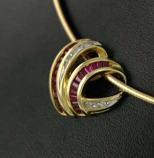 10K Italy Gold Ruby Diamond 20mm Slide Heart Pendant 17 Omega Chain