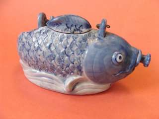 ASIAN FISH PORCELAIN DECOR VASE, HAND PAINTED TEAPOT AF