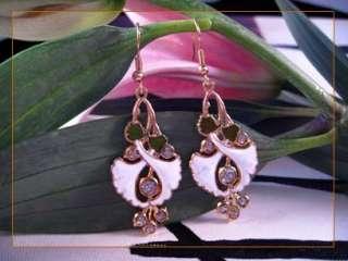 White Morning Glory Flower Gold Plated Cloisonne Enamel Dangle
