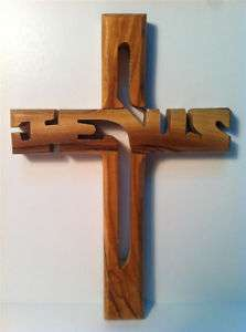 Bethlehem Handmade Jesus Olive Wood Large Cross on Wall