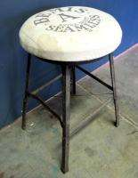 Vintage Industrial Angle Iron Metal Upholstered Stool Antique Machine