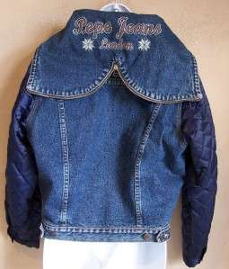 Vintage PEPE JEANS LONDON Blue Denim Jean Hooded LOGO Jacket M