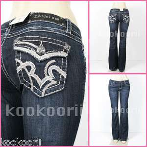 LA Idol* Women Jeans White Stitch BOOTCUT, Regular 0 15size