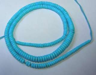 18 HIGH QUALITY ARIZONA SLEEPING BEAUTY TURQUOISE RONDELLE BEADS