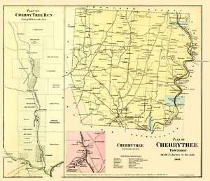 CHERRY TREE PENNSYLVANIA (PA) LANDOWNER MAP 1865