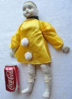 1940s Italy Beautiful Porcelain Sewn Tissue Doll SAD PIERROT