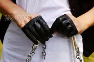 Mini four fingers real goat leather half gloves*red