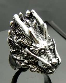 Chinese Dragon Pewter Ring Size 8 Punk Biker Hard Rock Heavy Metal