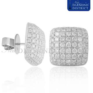 MENS 18K WHITE GOLD 4.50CT PAVE SET DIAMOND STUD EARRINGS