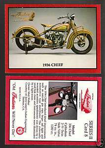 1936 36 INDIAN CHIEF Motorcycle Series II TRADING CARD