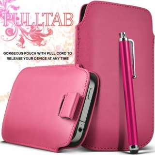 Pink Leather Pull Tab Case Cover For Samsung Galaxy S2 II And Stylus