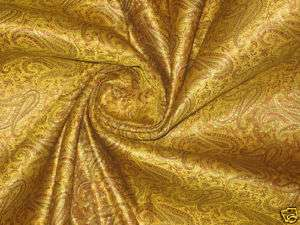 Pure Silk brocade fabric Mustard yellow & Gold 44