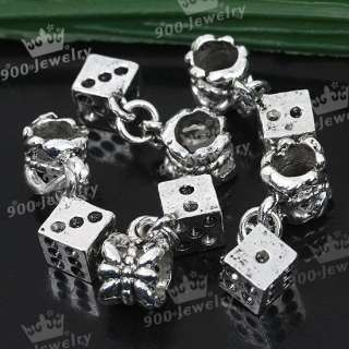 5Pc Tibetan Silver Dangle Dice Spacer European Beads