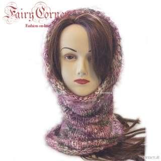 Scaldacollo sciarpa anello donna lana VIOLA melange