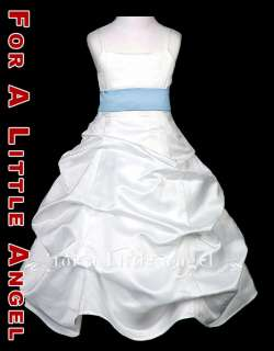 WHITE SATIN FLOWER GIRL DRESS w SKY BLUE SASH size 8