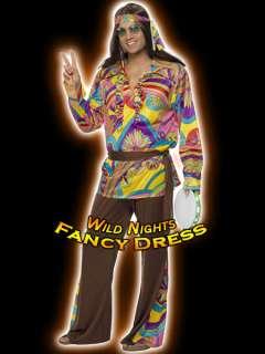 FANCY DRESS COSTUME # 70S PSYCHEDELIC HIPPIE MAN LG