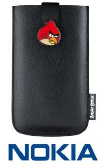 GENUINE NOKIA ANGRY BIRDS BLACK LEATHER UNIVERSAL POUCH CARRY CASE