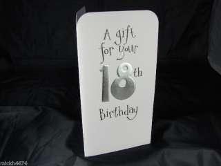 18TH BIRTHDAY WHITE MONEY WALLET GIFT CARD VOUCHER