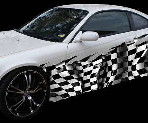 FULL COLOR CAR VINYL GRAPHIC CHECKERED FLAG WRAP 032