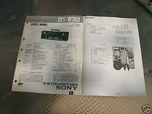 SONY CFS W360 ORIGINAL BOOMBOX SERVICE MANUAL lot#210