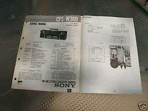 SONY CFS W360 ORIGINAL BOOMBOX SERVICE MANUAL lot#210