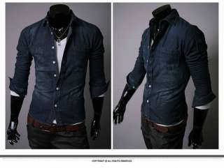 Blue Cowboy Style Jean Shirt Casual Sexy Long Cotton Dark Blue
