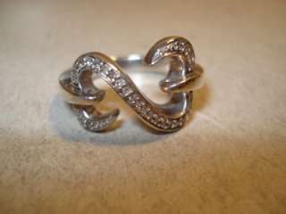 JANE SEYMOUR OPEN HEARTS DIAMOND STERLING SILVER RING SIZE 7