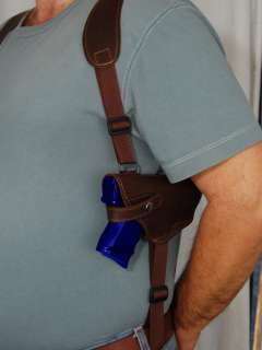 Brown Leather Shoulder Holster w/Double Magazine for Taurus Millennium