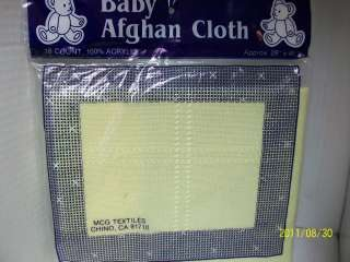 MCG TEXTILES 18 COUNT YELLOW BABY AFGHAN CLOTH 29X45NIP