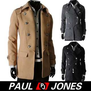 Crazy Buttons Winter Mens Fashion Slim Fit Winter Premium Trench Coat